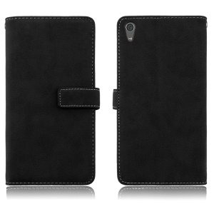 Matte Skin PU Leather Stand Cellphone Case with 9 Card Holders for Sony Xperia XA1 Ultra - Black