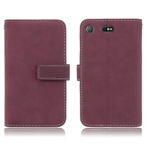 Leather Wallet Stand Frosted Phone Coverr with 9 Card Slots for Sony Xperia XZ1 Compact - Wine Red