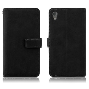Matte Skin PU Leather Stand Case Accessory with 9 Card Holders for Sony Xperia XA1 - Black