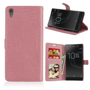 Crazy Horse Magnetic Leather Stand Cover for Sony Xperia XA1 Ultra - Pink