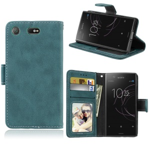 Matte Finish Wallet PU Leather Stand Cell Phone Case for Sony Xperia XZ1 Compact - Blue