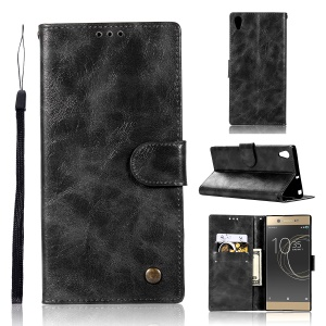 Premium Vintage PU Leather Wallet Stand Cover for Sony Xperia XA1 - Black