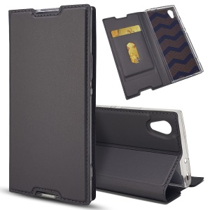 Magnetic Adsorption Stand Leather Card Holder Cover Accessory for Sony Xperia XA1 - Black