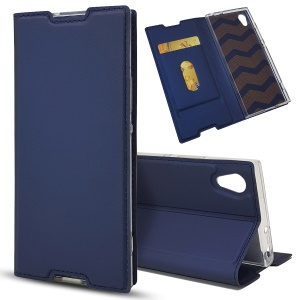 Magnetic Adsorption Leather Card Holder Cover with Stand for Sony Xperia XA1 - Dark Blue