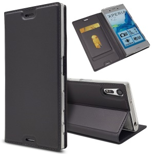 Magnetic Adsorption Stand Leather Card Holder Cover for Sony Xperia XZ - Black