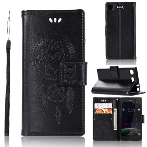 Imprint Dream Catcher Owl Magnetic Wallet PU Leather Stand Cover for Sony Xperia XZ1 Compact - Black