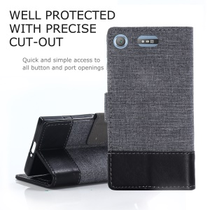 MUXMA PU Leather Splicing Canvas Wallet Case with Stand for Sony Xperia XZ1 Compact - Black