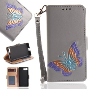 Butterfly Pattern Leather Wallet Stand Cover for Sony Xperia X Compact - Grey