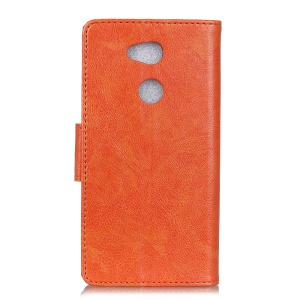 Textured Split Leather Stand Phone Shell for Sony Xperia L2 - Orange