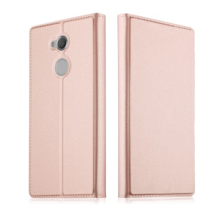 Folio Leather Card Holder Shell with Stand for Sony Xperia XA2 Ultra - Rose Gold
