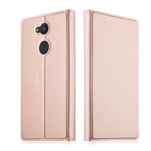 Magnetic Leather Stand Phone Case with Card Slot for Sony Xperia L2 - Rose Gold