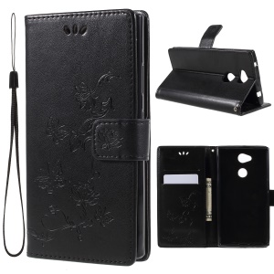 Imprint Butterfly Flowers Magnetic PU Wallet Stand Leather Cell Phone Case for Sony Xperia L2 - Black