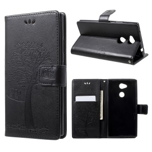 Imprint Tree Owl Magnetic Wallet PU Leather Case with Stand for 	Sony Xperia L2 - Black