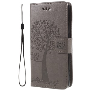 For Sony Xperia XA2 Imprint Tree Owl Leather Wallet Flip Cover - Grey