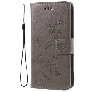 Imprint Butterfly and Flower PU Leather Card Holder Mobile Phone Case for Sony Xperia XA2 - Grey