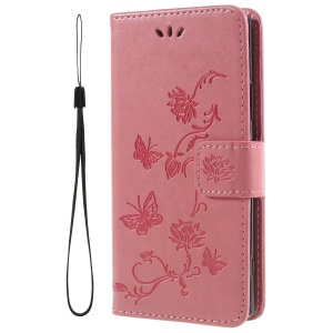 Imprint Butterfly and Flower PU Leather Card Holder Mobile Phone Case Shell for Sony Xperia XA2 - Pink