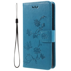 Imprint Butterfly and Flower PU Leather Card Holder Phone Accessory Shell for Sony Xperia XA2 - Blue
