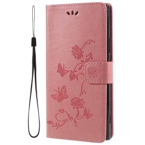 Imprint Butterfly and Flower Leather Wallet Cover with Stand for Sony Xperia XA2 Ultra - Pink