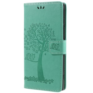 Imprint Tree Owl Magnetic Wallet PU Leather Case Shell with Stand for Sony Xperia XA2 Ultra - Green