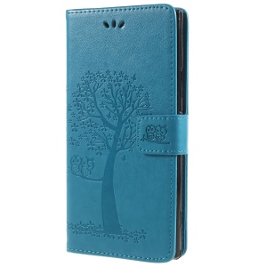 Imprint Tree Owl Magnetic Wallet PU Leather Phone Case with Stand for Sony Xperia XA2 Ultra - Blue
