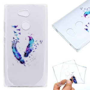 Pattern Printing Soft TPU Cell Phone Cover Case for Sony Xperia L2 - Feathers