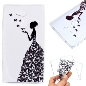 Pattern Printing Soft TPU Cell Phone Case for Sony Xperia L2 - Butterfly Girl