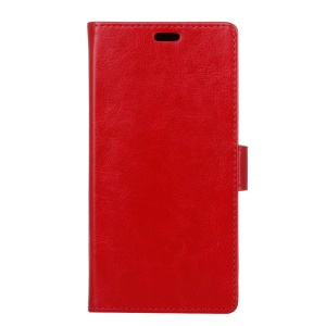 Crazy Horse Leather Wallet Case Shell for Sony Xperia XA2 Ultra - Red