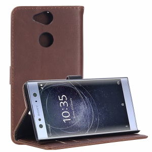 Retro Style Leather Wallet Shell Case for Sony Xperia XA2 - Coffee