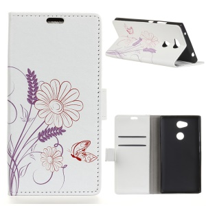Pattern Printing Wallet Stand Leather Case for Sony Xperia XA2 - Flower and Butterfly