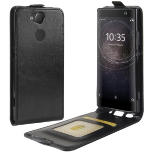 Crazy Horse Vertical Flip Card Holder Leather Case for Sony Xperia XA2 - Black