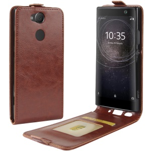 Crazy Horse Vertical Flip PU Leather Phone Case with Card Holder for Sony Xperia XA2 - Brown
