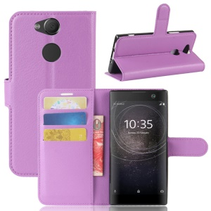 Litchi Texture Stand Leather Wallet Mobile Case for Sony Xperia XA2 - Purple