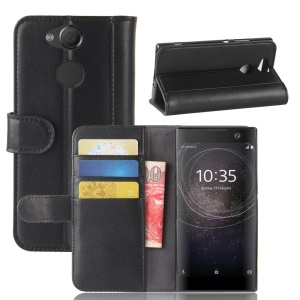 Genuine Split Leather Wallet Stand Cell Phone Case for Sony Xperia XA2 - Black