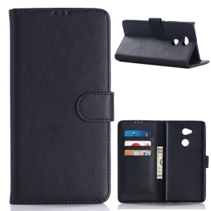 Retro Style Leather Wallet Case for Sony Xperia XA2 Ultra - Black