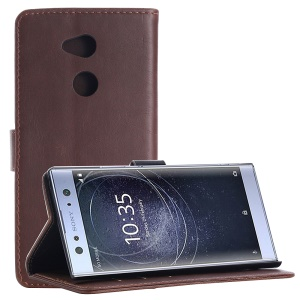 Retro Style Leather Wallet Case Phone Shell for Sony Xperia XA2 Ultra - Coffee