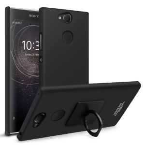 IMAK Kickstand Ring Holder Matte Plastic Hard Case with Screen Protector for Sony Xperia XA2 - Metal Black