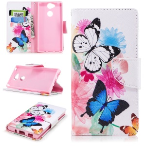 Patterned PU Leather Wallet Stand Phone Casing for Sony Xperia XA2 - Butterfly and Flower