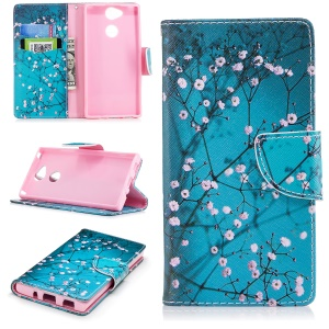 Patterned PU Leather Card Holder Cover Shell for Sony Xperia XA2 - Wintersweet