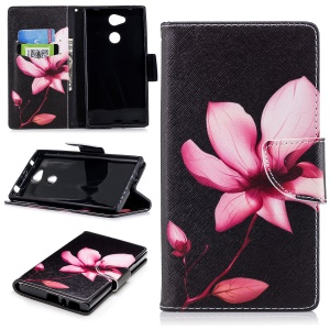 Pattern Printing PU Leather Wallet Stand Phone Shell for Sony Xperia L2 - Flower Pattern