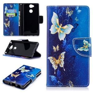Pattern Printing Wallet Stand PU Leather Case for Sony Xperia XA2 - Blue Butterflies
