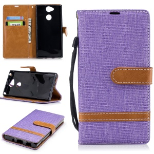 Bi-color Jean Cloth Wallet Leather Stand Mobile Casing for Sony Xperia XA2 - Purple