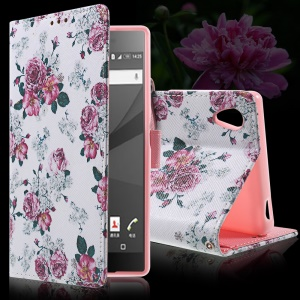 Callfree Stand Leather Wallet Cover for Sony Xperia Z5 / Z5 Dual - Rosa Multiflora