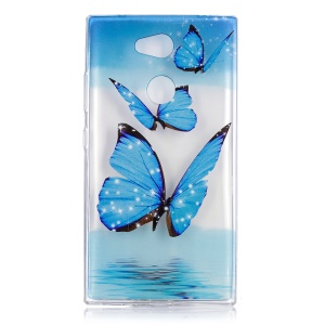 Embossment Pattern TPU Mobile Casing for Sony Xperia L2 - Blue Butterflies