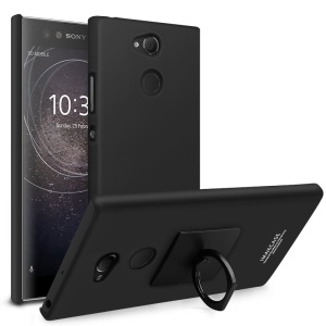 IMAK Cowboy Shell Matte Hard Back Case with Ring Stand + Screen Film for Sony Xperia XA2 Ultra - Metal Black