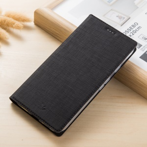 VILI DMX Cross Texture Card Holder Leather Stand Case for Sony Xperia XA2 Ultra - Black
