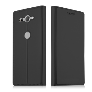 Auto-absorbed Leather Card Holder Stand Case for Sony Xperia XZ2 Compact - Black