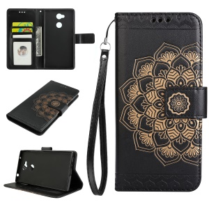 Imprinted Mandala Pattern Stand Wallet Leather Case for Sony Xperia L2 - Black