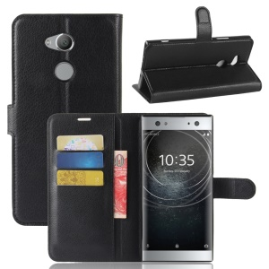 Litchi Grain Wallet Stand Leather Case for Sony Xperia XA2 Ultra - Black
