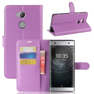 Litchi Grain Wallet Stand Leather Cellphone Cover for Sony Xperia XA2 Ultra - Purple