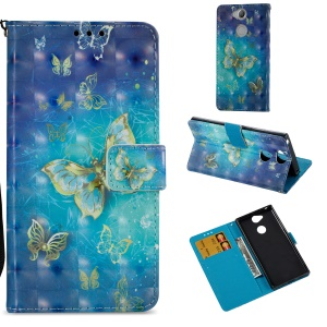 3D Pattern Printing Wallet Stand Leather Mobile Phone Case for Sony Xperia XA2 - Gold Butterfly